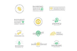 Set of retro vintage money and bank logo or insignia, emblems, labels and badges and other branding objects. Vector line style