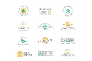 Set of retro vintage beer and alcohol logo or insignia, emblems, labels and badges and other branding objects. Vector line style
