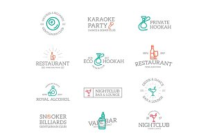 Set of retro vintage night club, karaoke, disco logo or insignia, emblems, labels and badges and other branding objects. Vector line style