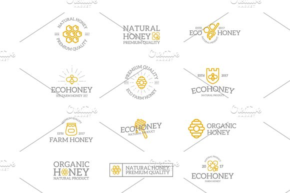 Set of retro vintage honey and bee logo or insignia, emblems, labels and badges and other branding objects. Vector line style