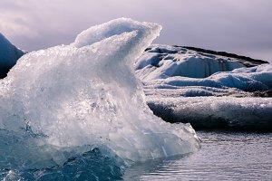 Iceberg floating in Glacier Lake
