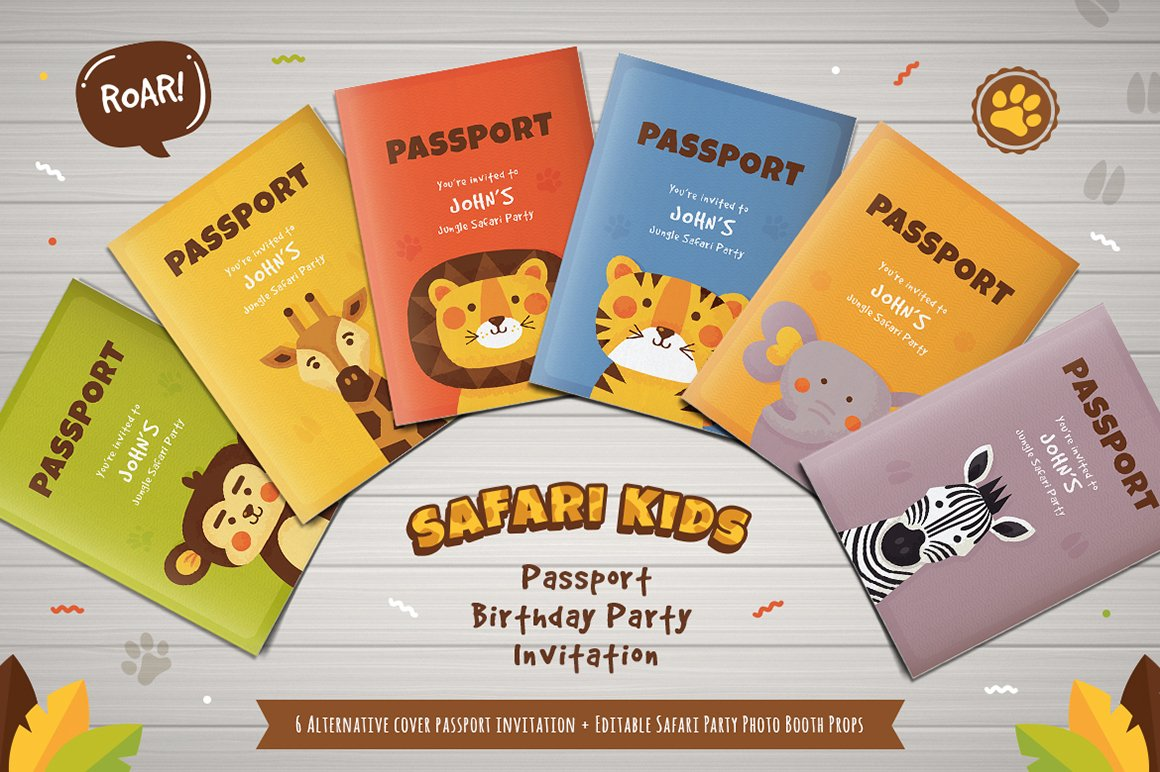 Safari passport birthday invitation invitation templates safari passport birthday invitation invitation templates creative market filmwisefo