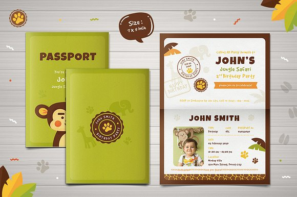 Safari Passport Birthday Invitation Templates Creative Market