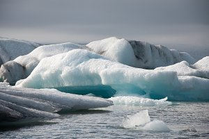 Glacier Lake with Floating Icebergs