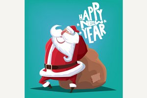 Happy New Year Santa Claus with gift bag