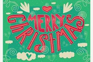 Handmade postcard Merry Christmas