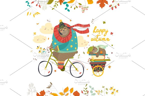 Cute Bear Riding A Bicycle With Sleeping Cub