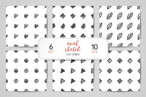 Hand drawn seamless patterns