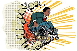 African Businessman in a wheelchair. Disabilities and health. Ba
