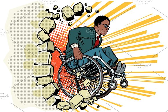 African Businessman In A Wheelchair Disabilities And Health Ba