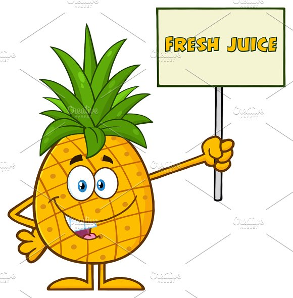 Pineapple Holding A Sign With Text