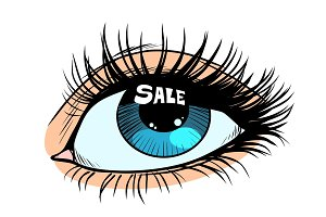 sale highlight in a woman eye