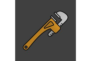 Monkey wrench color icon