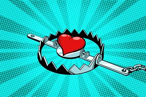 Red heart in an iron trap. Love and romance