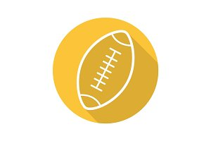 American football ball flat linear long shadow icon