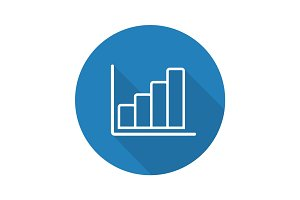 Growth chart flat linear long shadow icon