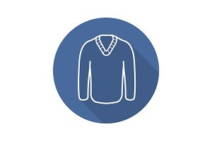Sweater flat linear long shadow icon