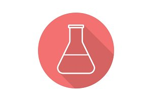 Lab beaker flat linear long shadow icon