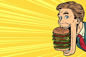 hungry man with a giant Burger, street food