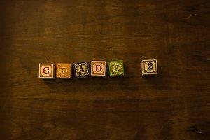 Grade 2 in wooden blocks