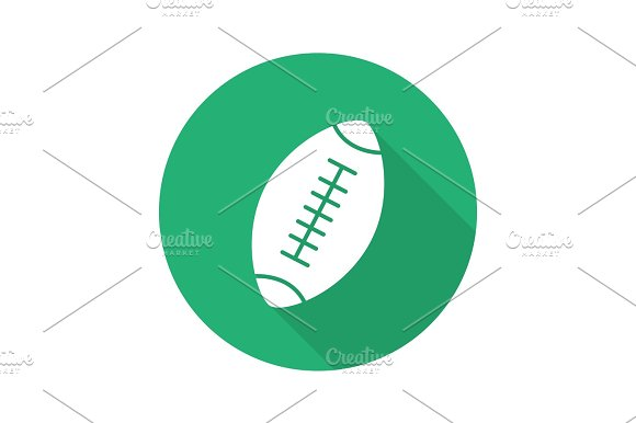 Rugby Ball Flat Design Long Shadow Glyph Icon