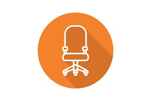 Computer chair flat linear long shadow icon
