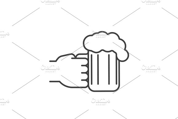 Hand Holding Beer Glass Linear Icon