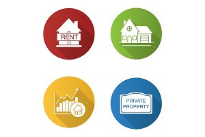 Real estate market flat design long shadow glyph icons set