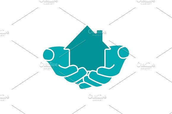 House In Hands Glyph Color Icon