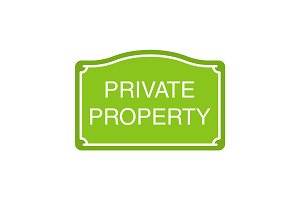 Private property sign glyph color icon