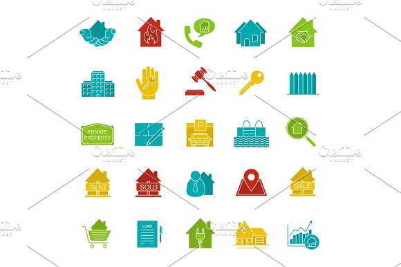 Real Estate Market Glyph Color Icon Set