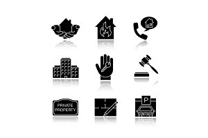 Real estate drop shadow black glyph icons set