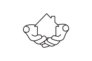 House in hands linear icon