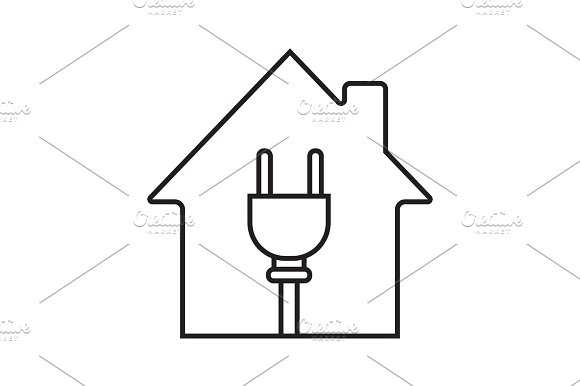 House With Wire Plug Inside Linear Icon