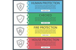 Protection shields web banner templates set