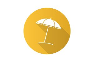 Beach umbrella flat design long shadow glyph icon