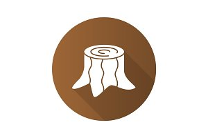 Stump flat design long shadow glyph icon