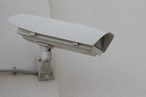 Big CCTV Camera on the wall - telephoto