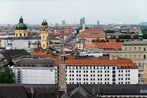 Scenic panoramic high angle view of historical city centre of Mu