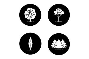Trees glyph icons set