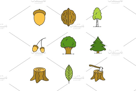 Forestry Color Icons Set