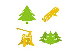 Forestry glyph color icon set