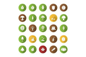 Tree types flat design long shadow glyph icons set