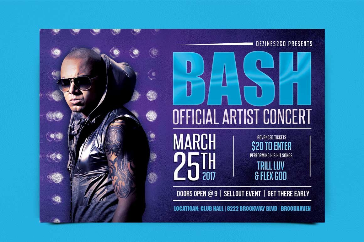 Bash Artist and DJ Flyer PSD ~ Flyer Templates ~ Creative Market