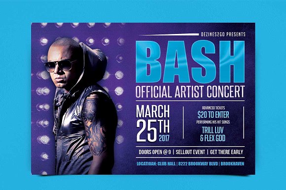 Bash Artist And Dj Flyer Psd Flyer Templates Creative Market