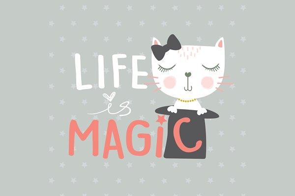 Cat vector / Cute Cat / Magic Life