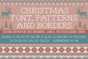 Knitted Christmas font and patterns