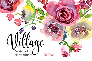 Watercolor village roses