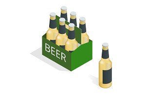 Vector color isometric icon with case of beer with six beer bottles. Flat 3d vector isometric illustration.