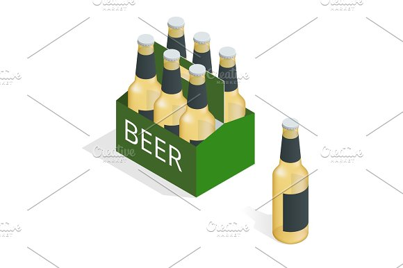 Vector Color Isometric Icon With Case Of Beer With Six Beer Bottles Flat 3D Vector Isometric Illustration